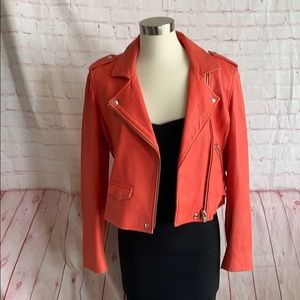 IRO ashville leather jacket in Coral